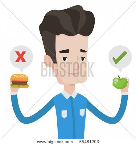 Caucasian man holding apple and hamburger. Man choosing between apple and hamburger. Man choosing between healthy and unhealthy nutrition. Vector flat design illustration isolated on white background.