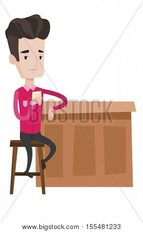 Caucasian man sitting at the bar counter. Man sitting with glass in bar. Man sitting alone and celebrating with an alcohol drink in bar. Vector flat design illustration isolated on white background.