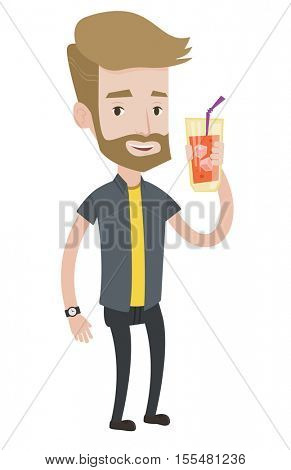 Hipster man with beard holding cocktail glass with drinking straw. Joyful man drinking cocktail. Caucasian man celebrating with cocktail. Vector flat design illustration isolated on white background.