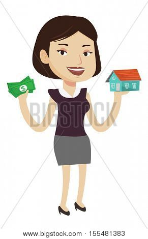 Caucasian happy woman having loan for house. Smiling woman got loan for buying a new house. Real estate loan concept. Vector flat design illustration isolated on white background.