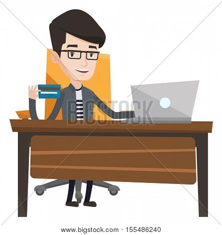 Man sitting at the table with laptop and holding a credit card in hand. Man using laptop for online shopping. Man shopping online at home. Vector flat design illustration isolated on white background.