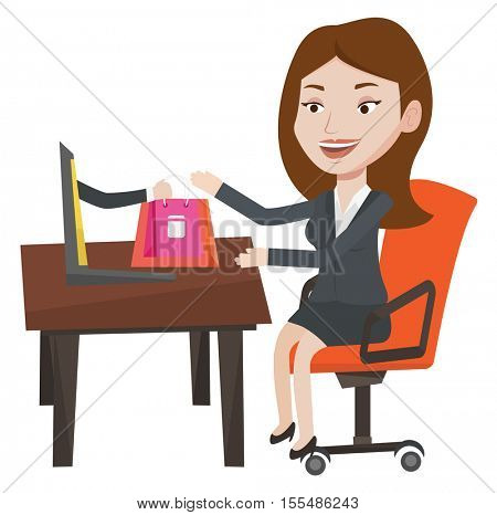 Young happy woman shopping online. Woman getting online order in virtual shop. Cheerful caucasian woman using laptop for online shopping. Vector flat design illustration isolated on white background.
