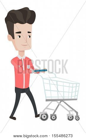 Man pushing an empty supermarket trolley. Customer shopping at supermarket with trolley. Caucasian man walking with supermarket trolley. Vector flat design illustration isolated on white background.