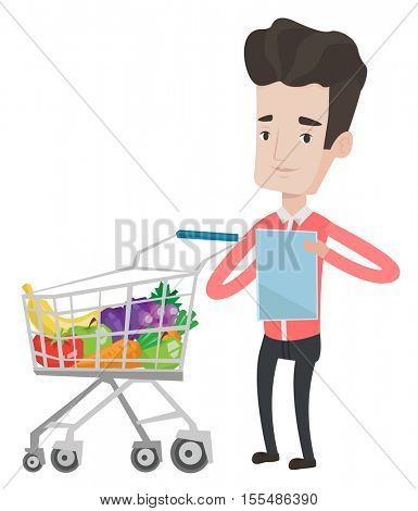 Caucasian man checking shopping list. Man holding shopping list near shopping trolley full with products. Man writing in shopping list. Vector flat design illustration isolated on white background.