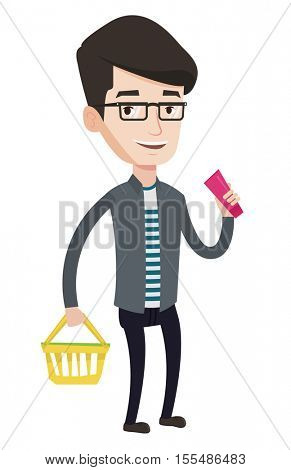 Man holding a shopping basket in one hand and a tube of cream in another. Caucasian male customer shopping at supermarket with basket. Vector flat design illustration isolated on white background.