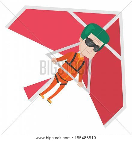 Caucasian man flying on hang-glider. Sportsman taking part in hang gliding competitions. Man having fun while gliding on hang-glider. Vector flat design illustration isolated on white background.