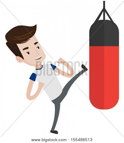 Caucasian boxer man exercising with punching bag. Kickbox fighter hitting punching bag during training. Boxer training with punching bag. Vector flat design illustration isolated on white background.