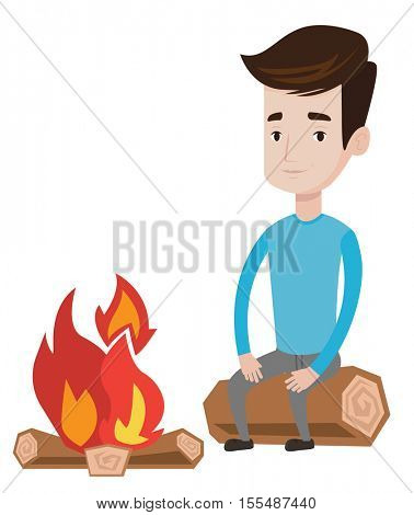 Travelling man sitting on a log near a campfire. Young caucasian man sitting near a campfire. Smiling tourist relaxing near campfire. Vector flat design illustration isolated on white background.