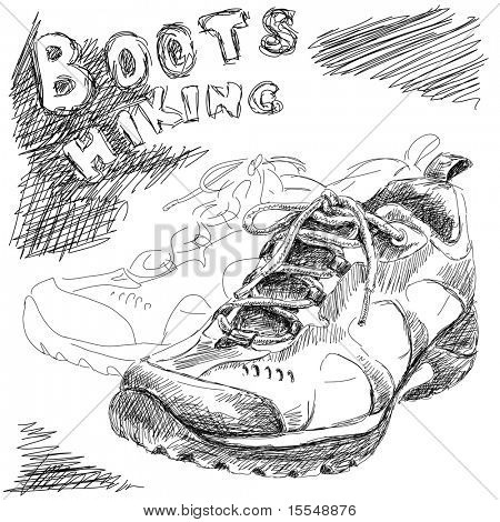 hand drawn doodle hiking boots vector