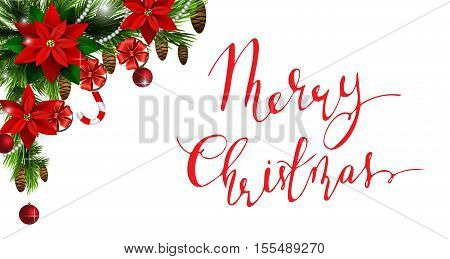 Christmas corner decoration with evergreen treess gift boxes and poinsettia with two cendy canes isolated with handwritten Merry Christmas