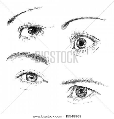 Hand-drawn eyes collection vector