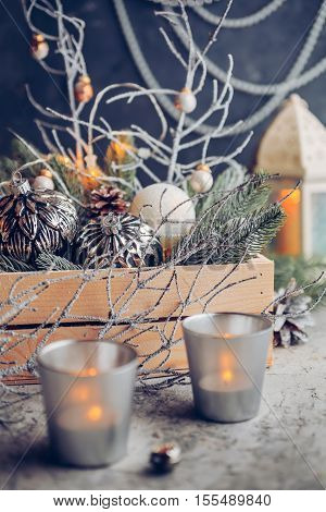 Vintage Decorations for Christmas and New Year, christmas balls, candles. Shallow depth of field