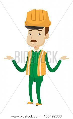 Confused builder in hard hat standing with spread arms. Illustration of full length of an adult caucasian builder with spread arms. Vector flat design illustration isolated on white background.