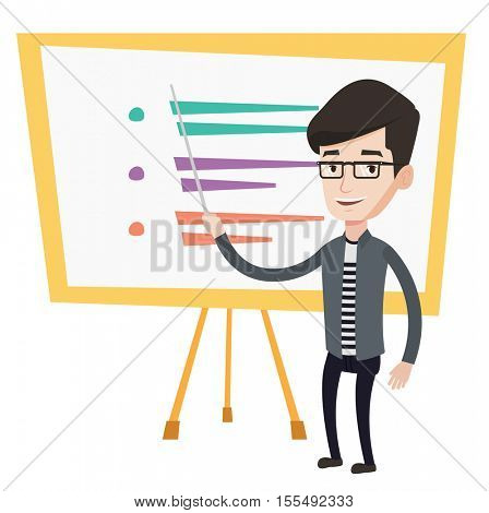 Caucasian teacher standing in front of board with a pointer. Teacher standing with a pointer in classroom. Young teacher with pointer. Vector flat design illustration isolated on white background.
