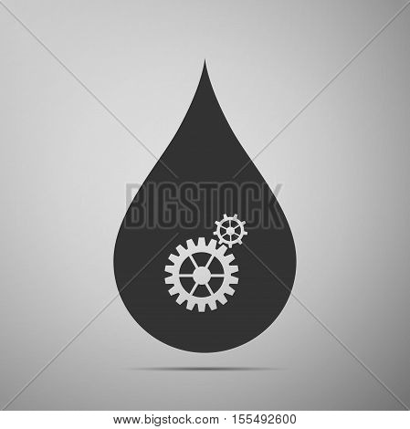 Water drop with gears. Abstract concept for ecology theme, green eco energy, technology and industry flat icon on grey background. Vector Illustration