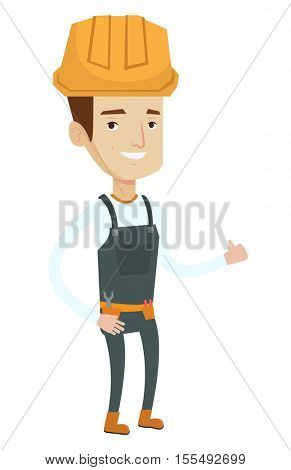 Young cheerful builder in hard hat giving thumb up. Smiling builder with thumb up. Caucasian builder in overalls with belt with tools. Vector flat design illustration isolated on white background.