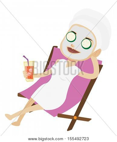 Young woman with face mask and towel on her head lying in beauty salon. Woman relaxing in beauty salon. Woman having beauty treatments. Vector flat design illustration isolated on white background.