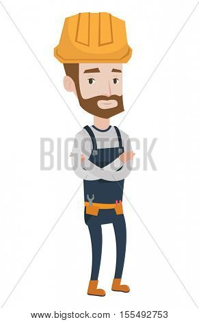 Hipster builder with the beard standing with arms crossed. Confident builder in hard hat. Young builder in overalls with belt with tools. Vector flat design illustration isolated on white background.