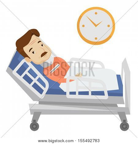 An adult caucasian man wearing cervical collar and suffering from neck pain. Patient with injured neck lying in bed. Man with neck brace. Vector flat design illustration isolated on white background.