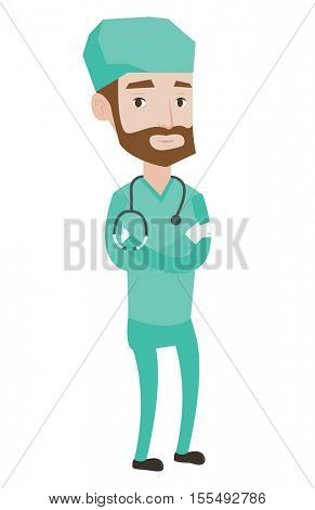 Hipster surgeon standing with arms crossed. Young caucasian confident surgeon in medical uniform. Surgeon with stethoscope on his neck. Vector flat design illustration isolated on white background.