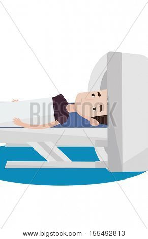 Man undergoes a magnetic resonance imaging. Man having magnetic resonance imaging. Magnetic resonance imaging machine scanning patient. Vector flat design illustration isolated on white background.