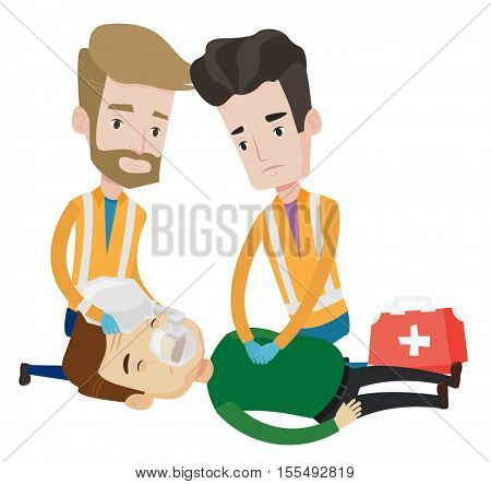 Emergency doctors during process of resuscitation of a man. Caucasian emergency doctors doing cardiopulmonary resuscitation of a man. Vector flat design illustration isolated on white background.