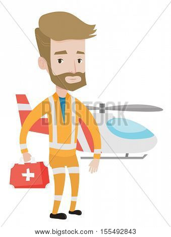 Doctor of air ambulance in front of rescue helicopter. Doctor of air ambulance with first aid box. Caucasian doctor of air ambulance. Vector flat design illustration isolated on white background.