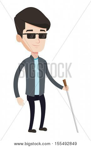 Caucasian blind man standing with walking stick. Young blind man in dark glasses standing with cane. Blind man walking with stick. Vector flat design illustration isolated on white background.