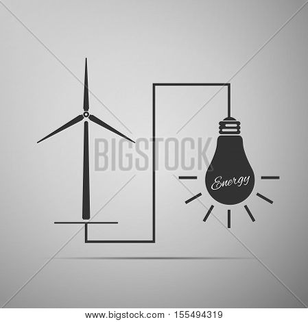 Wind mill turbine generating power energy and glowing light bulb. Natural renewable energy production using wind mills simple flat icon on grey background. Vector Illustration
