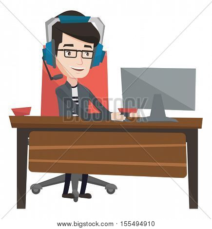 Young caucasian gamer using computer for playing games. Cheerful gamer in headphones playing online games. Man playing computer game. Vector flat design illustration isolated on white background.