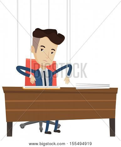 Businessman hanging on strings like a marionette. Businessman marionette on ropes sitting in office. Emotionless marionette man working. Vector flat design illustration isolated on white background.