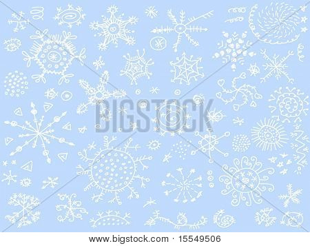 snowflake doodles background vector