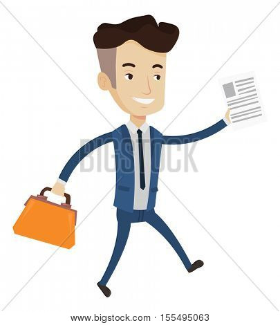 Caucasian businessman with briefcase and a document running. Smiling businessman running in a hurry. Cheerful businessman running forward. Vector flat design illustration isolated on white background.