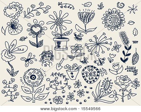 Hand drawn flowers doodle Vector. Visit my portfolio for big collection of doodles