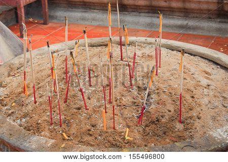 Incense burner In Buddhism thai Temple .