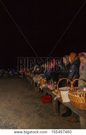 Parishioners Are Waiting For The Consecration Of Festive Products. Dobrush, Belarus