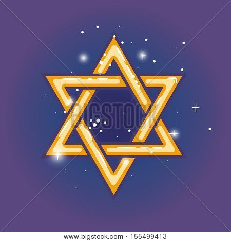 Star of david. Jewish shield zion star for hanuka gold on blue background. Vector illustration