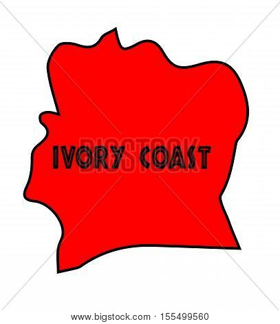 Ivory Coast outline silhouette map over a white background