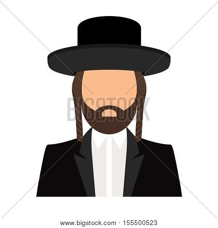 Jew orthodox icon. Jewish orthodox rabbi avatar flat vector