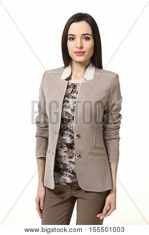 indian asian eastern brunette business executive manager woman with straight hair style in jacket and military blouse close up portrait isolated on white