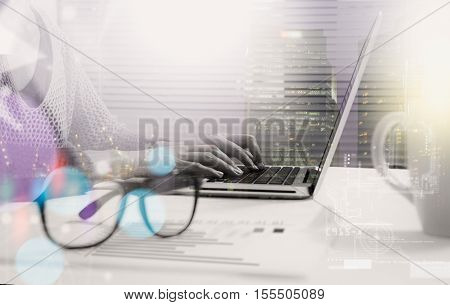 Double Exposure Of Businesswoman Working On A Laptop Computer While Enjoying And Network Connection