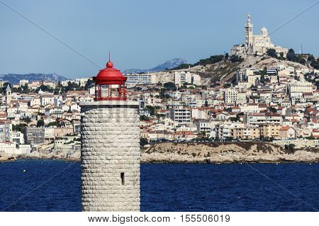 Lighthouse on If island and Marseille panorama. Marseille Provence-Alpes-Cote d'Azur France.