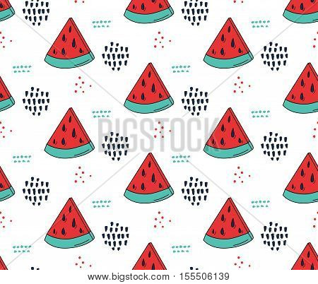 Watermelon pattern. Cute seamless texture, 80s fashion style. Vector red and green watermelon background with trendy hand marks.