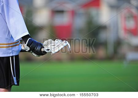 Lacrosse player waiting for action
