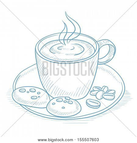 Coffee cup with biscuits and coffee beans on saucer. Coffee with biscuits and coffee beans hand drawn on white background. Coffee with biscuits vector illustration. Coffee sketch illustration.