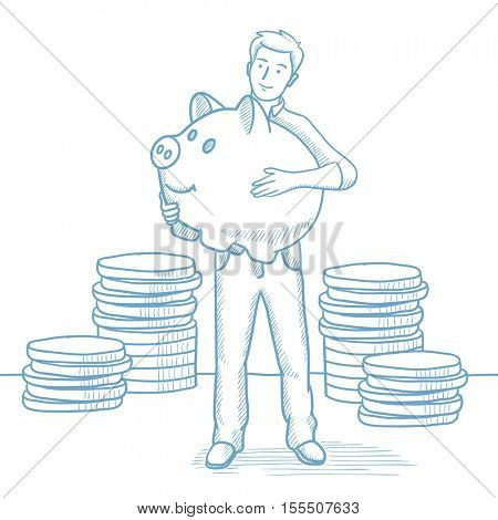 Businessman with a piggy bank. Businessman holding a big piggy bank on the background of coins. Businessman saving money in a piggy bank. Hand drawn vector sketch illustration on white background.