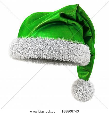 Santa Claus green hat isolated on white background. 3D illustration.
