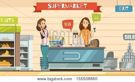 Supermarket store cashier and customer with grocery basket at cash register retro cartoon poster vector illustration