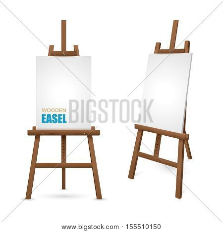 Wooden artist easel with clean canvas isolated on white background vector illustration