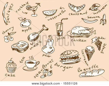 Handdrawn food doodles Vector. Visit my portfolio for big collection of doodles